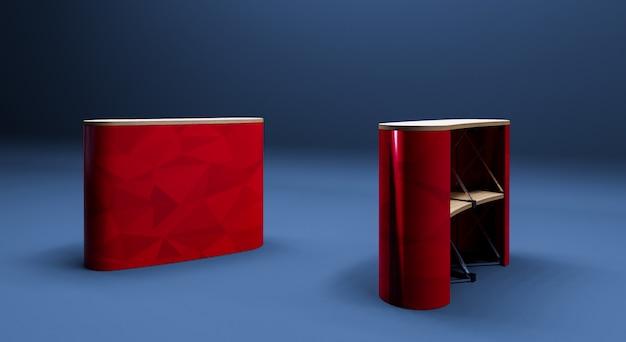 Rode roll-up tabel 3d-realistische render op donkerblauwe achtergrond.