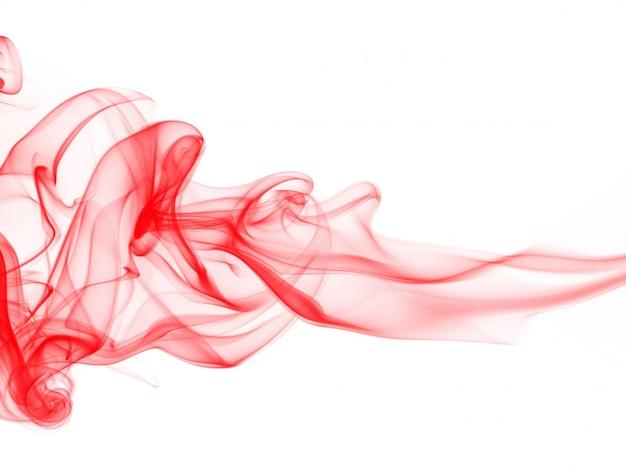 Rode rooksamenvatting op witte achtergrond, beweging van rode inktkleur