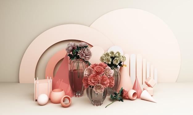 Rode rozen in een vaas met een geometrische achtergrond in roze tinten 3d-rendering