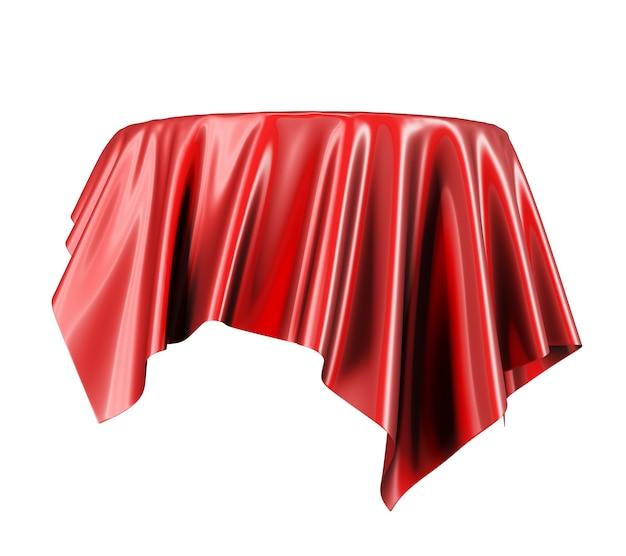 Rode satijnen stof zwevend in de lucht geïsoleerd op wit. 3d-weergave.