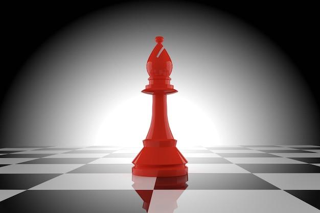 Rode schaakbischop op schaakbord in het 3d teruggeven