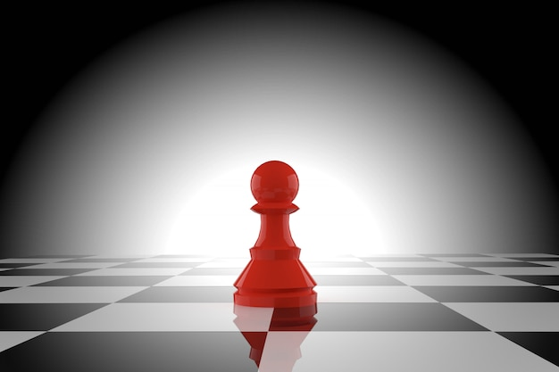 Rode schaakpion op schaakbord in het 3d teruggeven