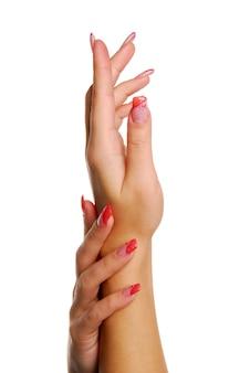 Rode schoonheid vingernagels