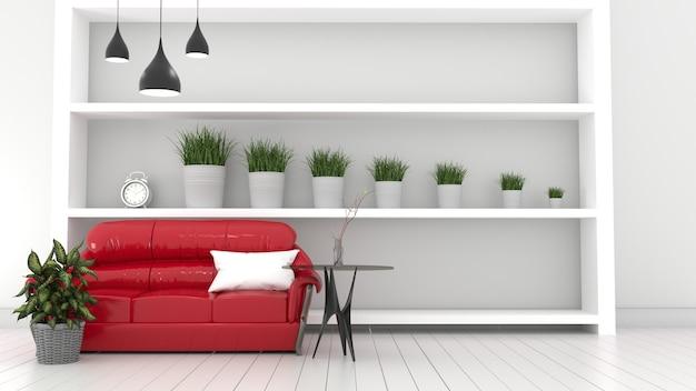 Rode sofa woonkamer interieur moderne kamer, planten en rode sofa. 3d-rendering
