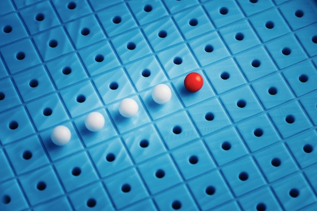 Rode speld die witte degenen op blauwe achtergrond, leidingsconcept leiden