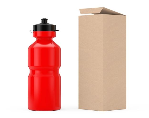 Rode sport plastic waterfles mockup met kartonnen kraftpapier doos verpakking op een witte achtergrond. 3d-rendering