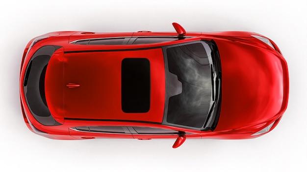 Rode stadsauto met blanco oppervlak voor uw creatieve ontwerp. 3d-weergave.