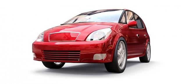 Rode stadsauto met leeg oppervlak voor uw creatief ontwerp. 3d-rendering.