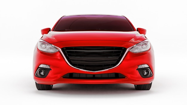 Rode stadsauto met leeg oppervlak voor uw creatieve ontwerp 3d-rendering