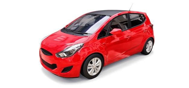 Rode stadsauto met leeg oppervlak voor uw creatieve ontwerp. 3d-weergave.