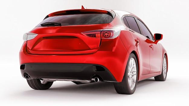 Rode stadsauto met leeg oppervlak voor uw creatieve ontwerp