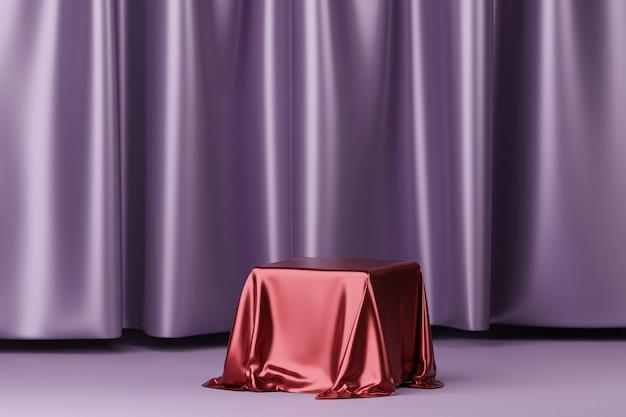 Rode stof op een podium of voetstuk voor producten of reclame in de buurt van paarse gordijnen. 3d-weergave.