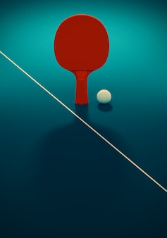 Rode tafeltennis of pingpongracket en bal op een blauwe tafel. 3d-afbeelding. affiche voor toernooi met kopie ruimte.
