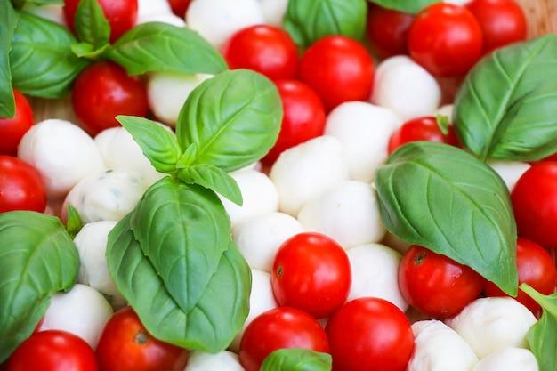 Rode tomaten met basilicum als snack for