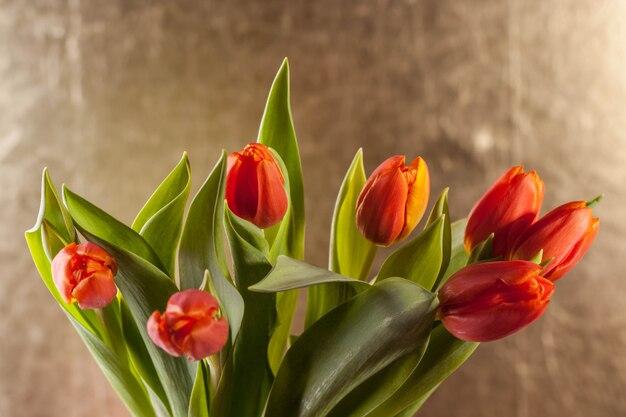 Rode tulpen op gouden achtergrond