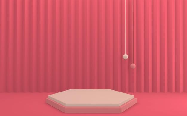 Rode valentine-productscène met podium minimaal ontwerp. 3d-weergave