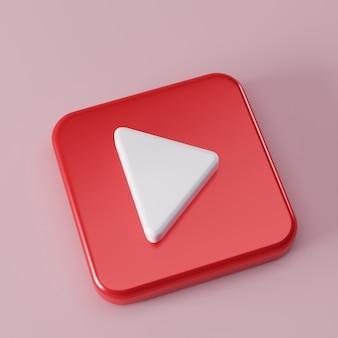 Rode vierkante knop afspelen op muziek concept sociale media 3d-visualisatie