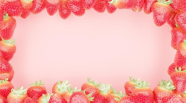 Rode vlag met aardbeien aan de randen en duidelijk midden Premium Foto
