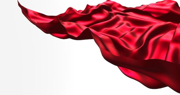Rode vliegende satijn, doek geïsoleerd op een witte muur. 3d render