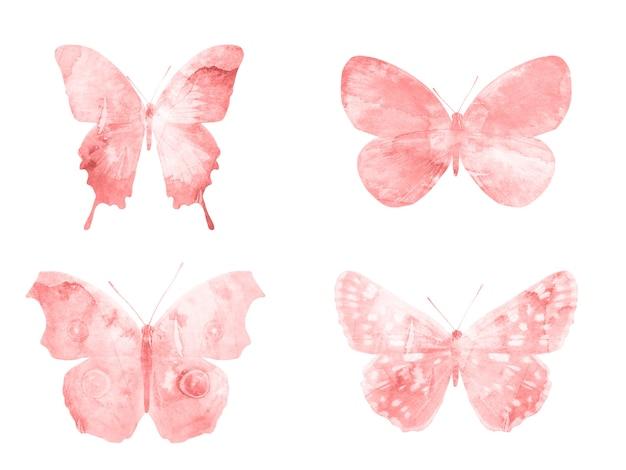 Rode vlinders geïsoleerd op een witte achtergrond. tropische motten