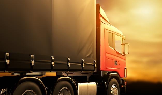 Rode vrachtwagen bij zonsondergang