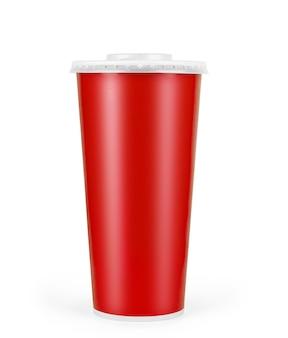 Rode wegwerp papieren beker geïsoleerd op wit