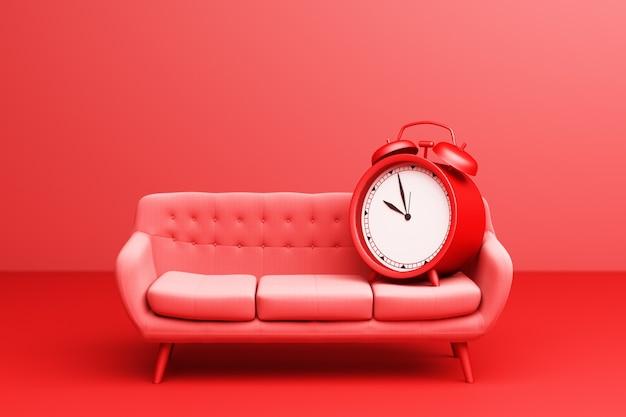Rode wekker met rood eenvoudig modern bankmeubilair op een rode achtergrond. 3d-weergave