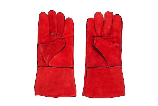 Rode werkhandschoenen geïsoleerd op een witte achtergrond