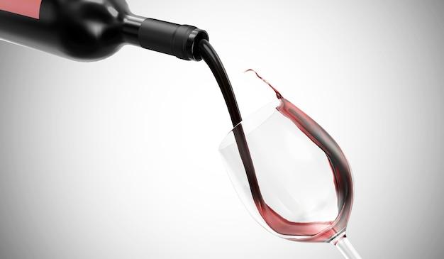 Rode wijn wordt van fles in een glas op gradiënt gegoten