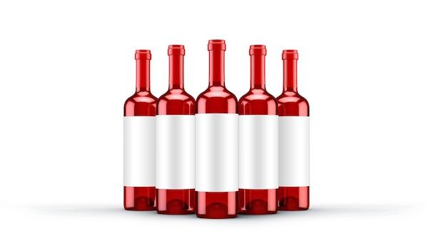 Rode wijnfles geïsoleerd.