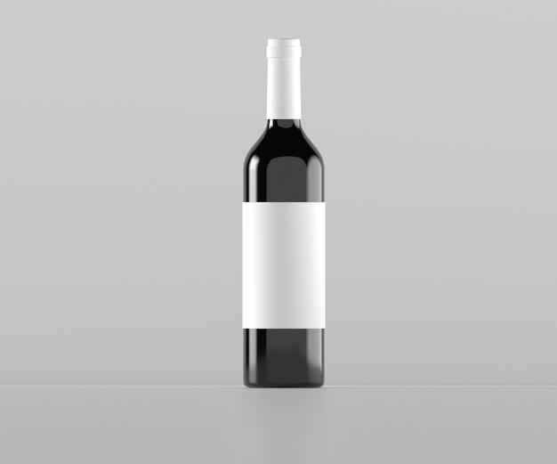 Rode wijnfles met label 3d-rendering