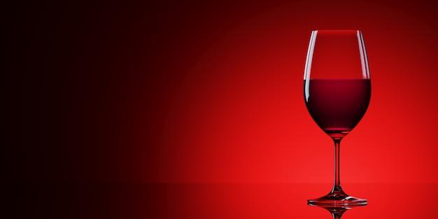 Rode wijnglazen die op rode achtergrond worden geïsoleerd. 3d rendering illustratie.