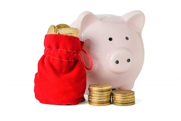 Rode zak met muntstukken en spaarvarken dat op wit wordt geïsoleerd. het concept van het sparen van contant geld.