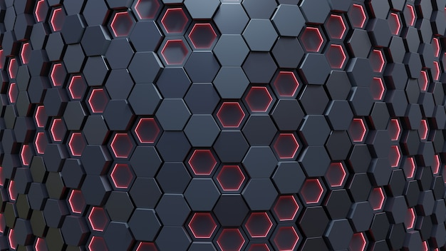 Rode zeshoek patroon. 3d-rendering