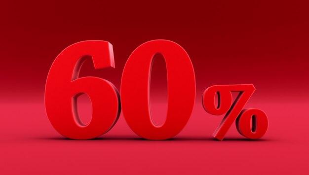Rode zestig procent op een rode achtergrond. 3d renderen. 60%
