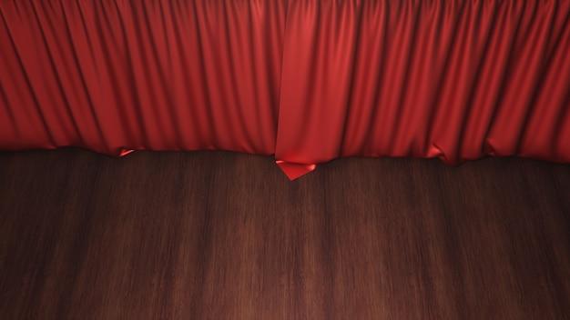 Rode zijden gordijnen gesloten. theater- en bioscoopconcept. theaterpodium, optreden voor publiek