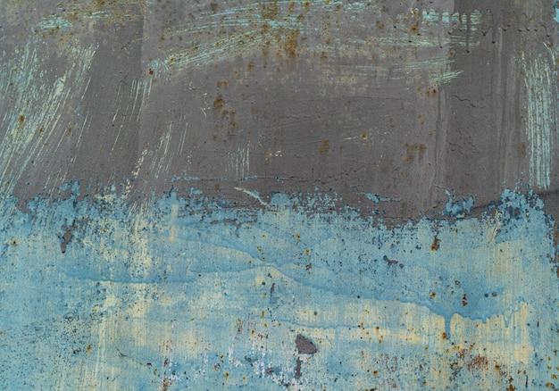 Roestige metalen achtergrond in blauwe tinten