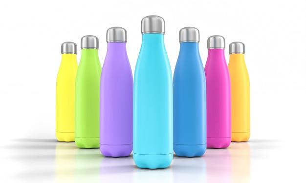 Roestvrijstalen flessen met verschillende kleuren