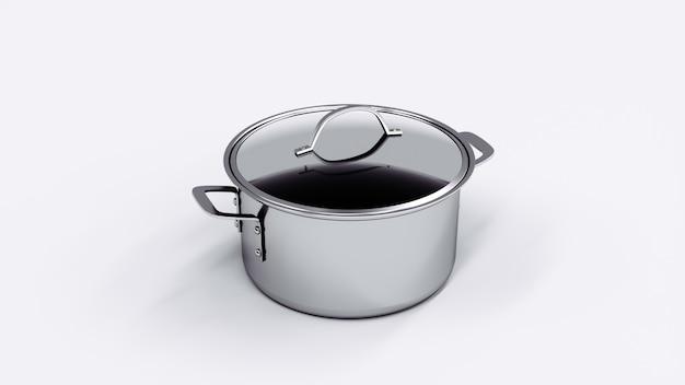 Roestvrijstalen kookpot met glazen deksel. 3d-weergave.