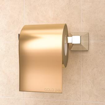 Rol goudkleurig toiletpapier.