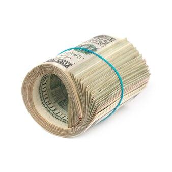 Rol van geld contant geld van geïsoleerde dollars