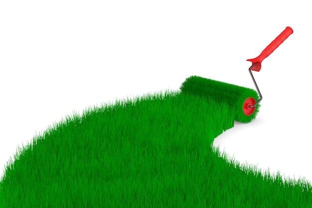 Rolborstel en gras op witte ruimte