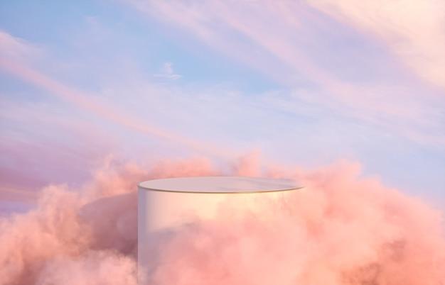 Romantisch podiumdecor voor productvertoning met dromerige hemelachtergrond.