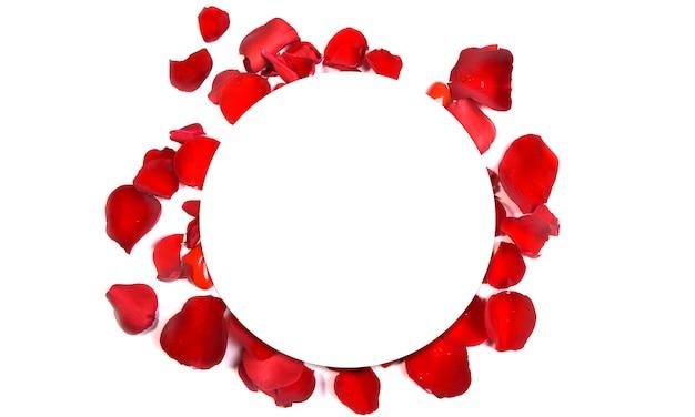 Romantische achtergrond met rozenblaadjes en rond frame