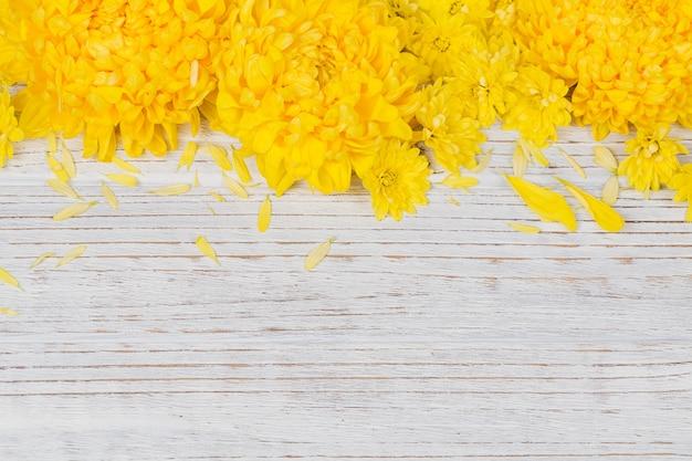 Romantische bloemenkadersamenstelling. gele chrysanten madeliefjebloemen op witte houten achtergrond. bovenaanzicht met kopieerruimte