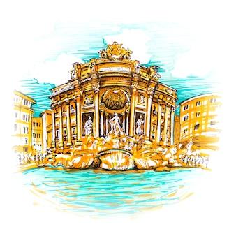 Rome trevi-fontein of fontana di trevi in de ochtend, rome, italië. trevi is het beroemdst en wordt bezocht door de toeristenfontein van rome. foto gemaakte markeringen