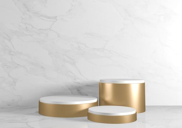 Romeins podiumwit voor cosmetisch product op achtergrondgranietwit. 3d-weergave