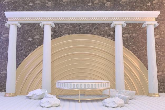Romeins podiumwit voor cosmetisch product op bruin graniet als achtergrond. 3d-weergave