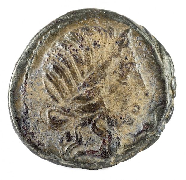 Romeinse republiek munt. oud-romeins zilver denarius van de familie caecilia.
