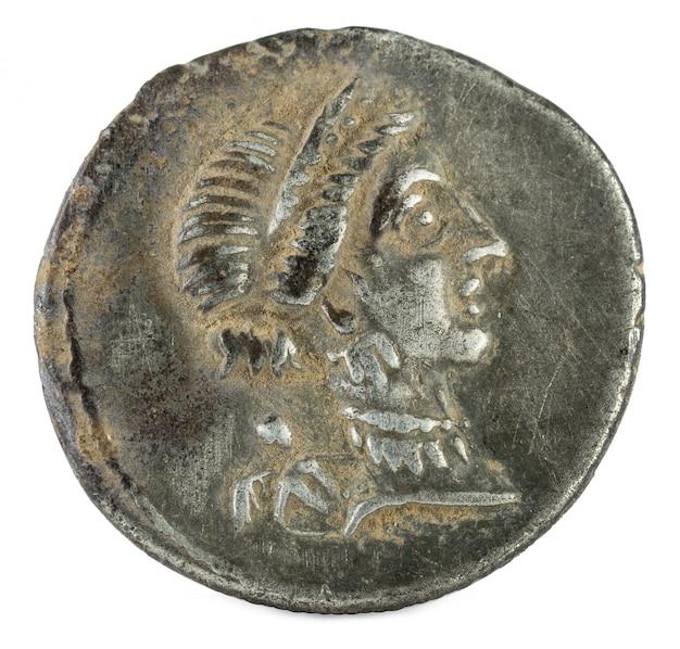 Romeinse republiek munt. oud-romeins zilver denarius van de familie julia. julius caesar.